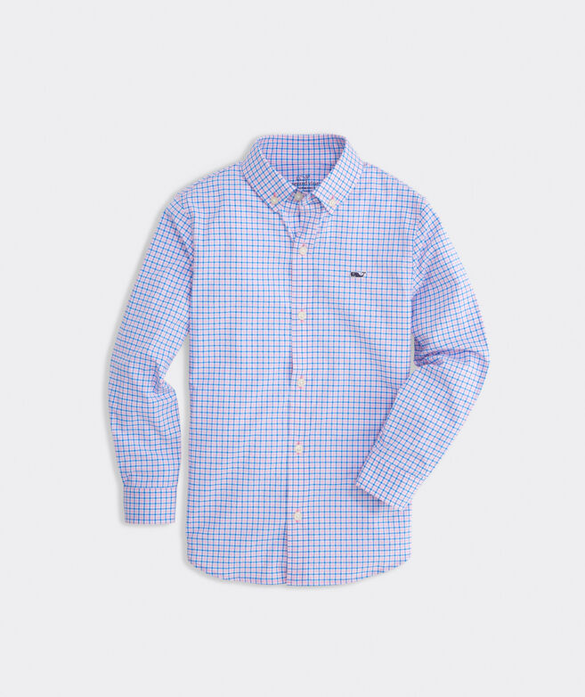 Boys' Multi Check Plaid On-The-Go Performance Whale Button-Down Shirt