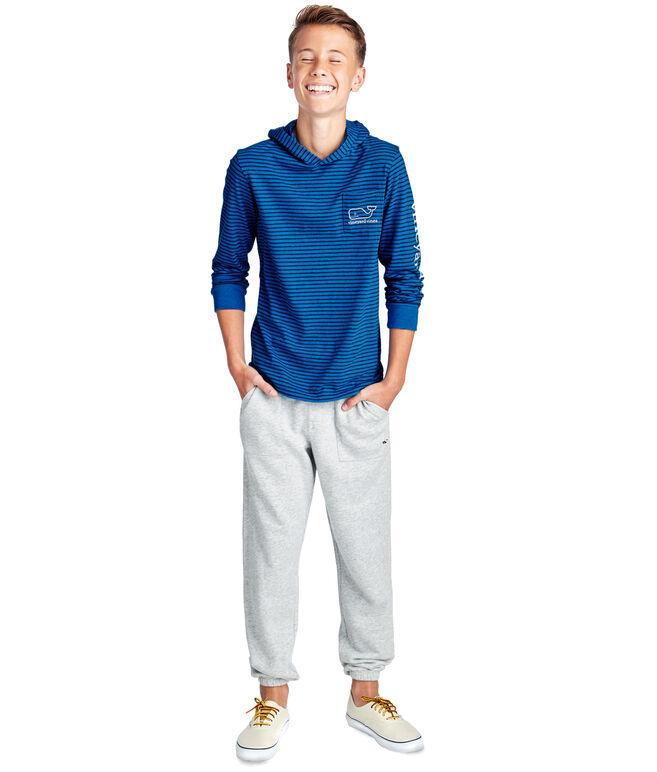 Boys Long-Sleeve Heather Stripe Whale Pocket Hoodie T-Shirt