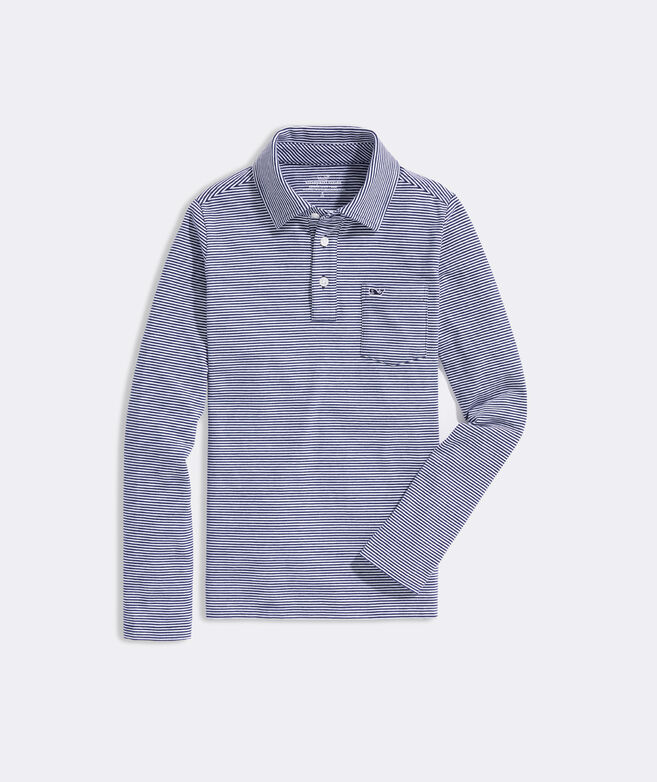 Boys' Long-Sleeve Edgartown Feeder Stripe Polo