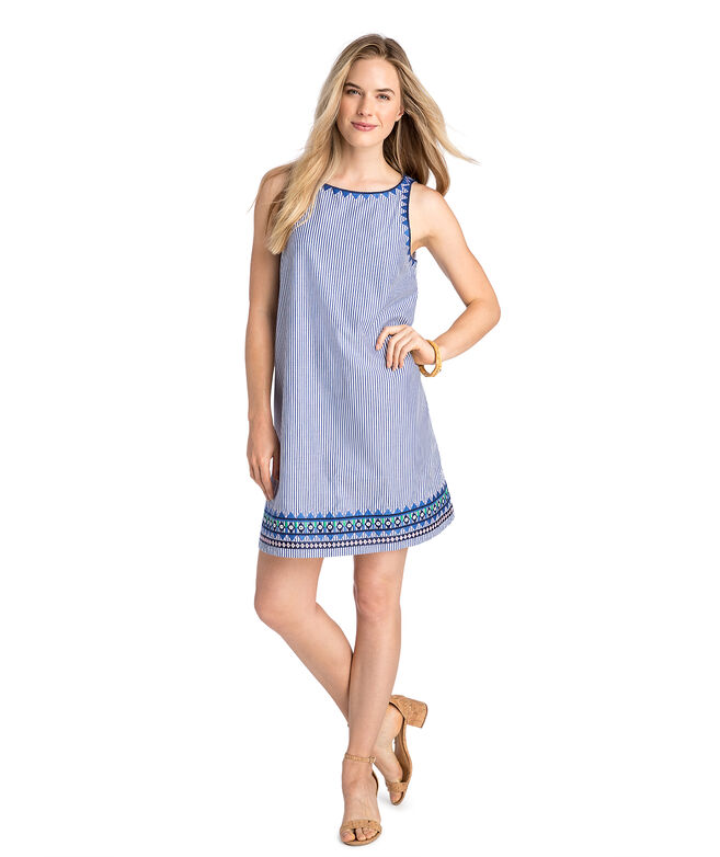 Geo Prep Embroidered Swing Dress