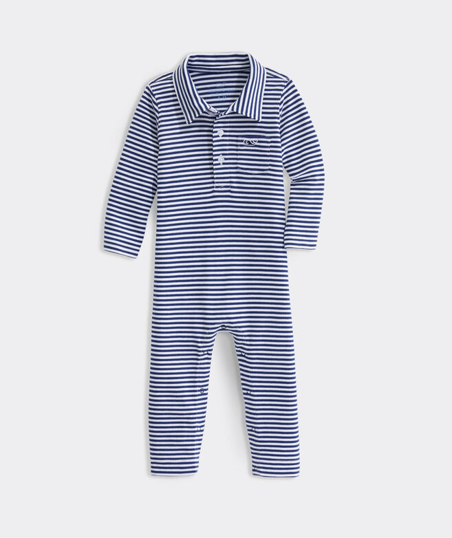 Baby Boy Feeder Stripe Polo One-Piece
