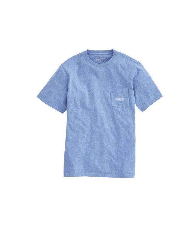 Heathered Beach Huts Whale Fill Logo Box Pocket T-Shirt