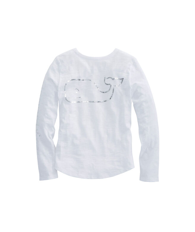 Girls Long-Sleeve Foil Vintage Whale Slub Tee