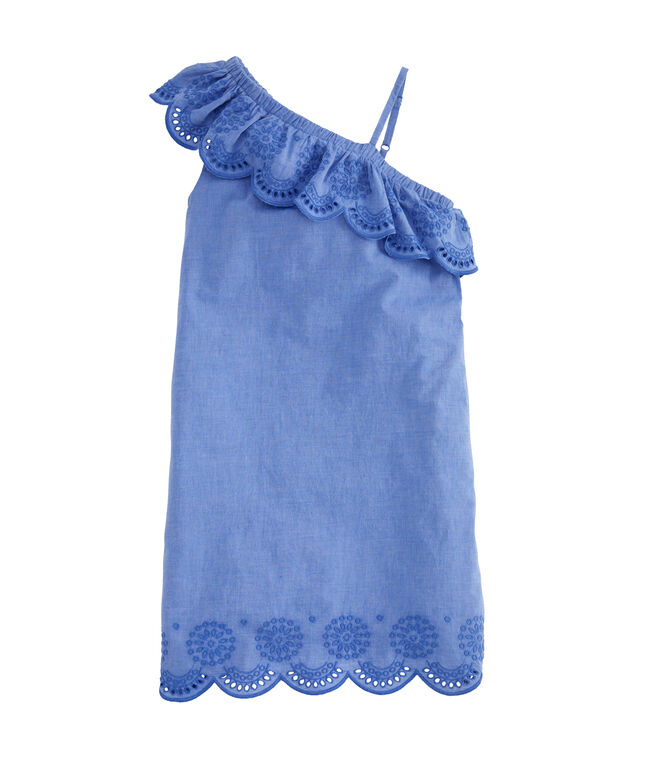 Girls One-Shoulder Woven Eyelet Dress