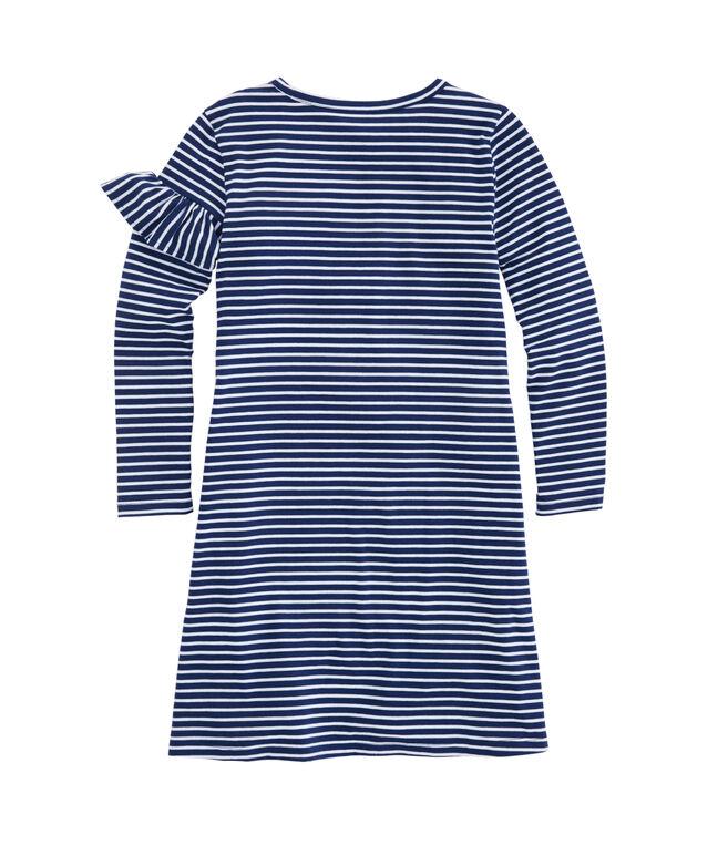Girls' Coral Stripe Edgartown Ruffle Dress