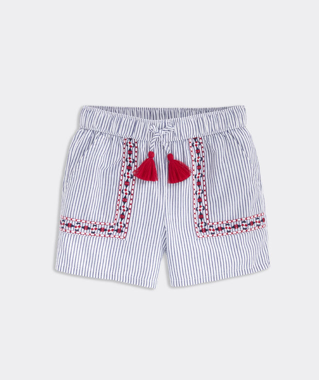 Girls' Sparkler Stripe Embroidered Shorts