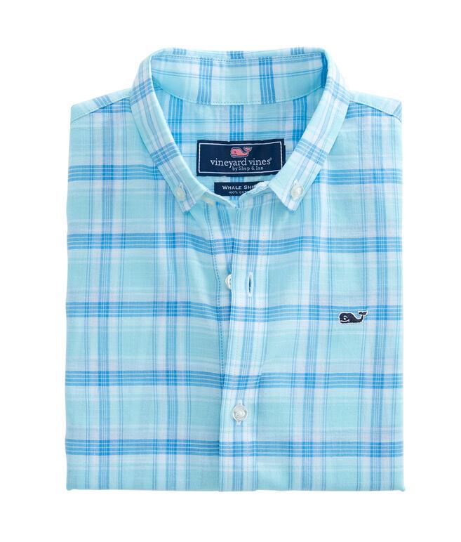 Boys Short-Sleeve Flat Point Plaid Whale Shirt
