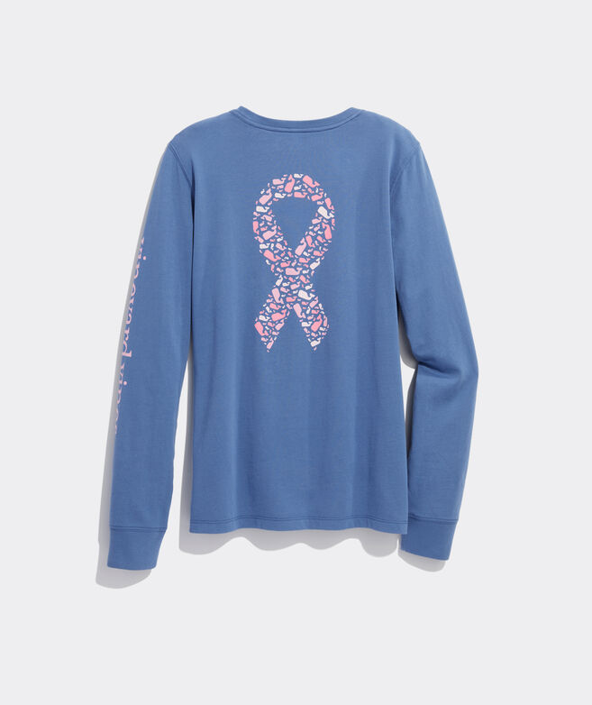 Women's Limited-Edition Breast Cancer Awareness Long-Sleeve Whale Ribbon Pocket Tee