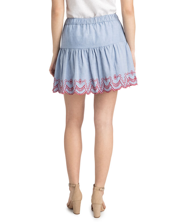 Embroidered Flounce Pull On Skirt