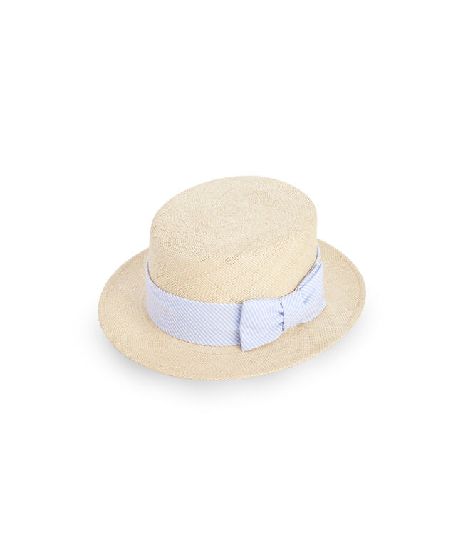 Straw Derby Seersucker Ribbon Hat