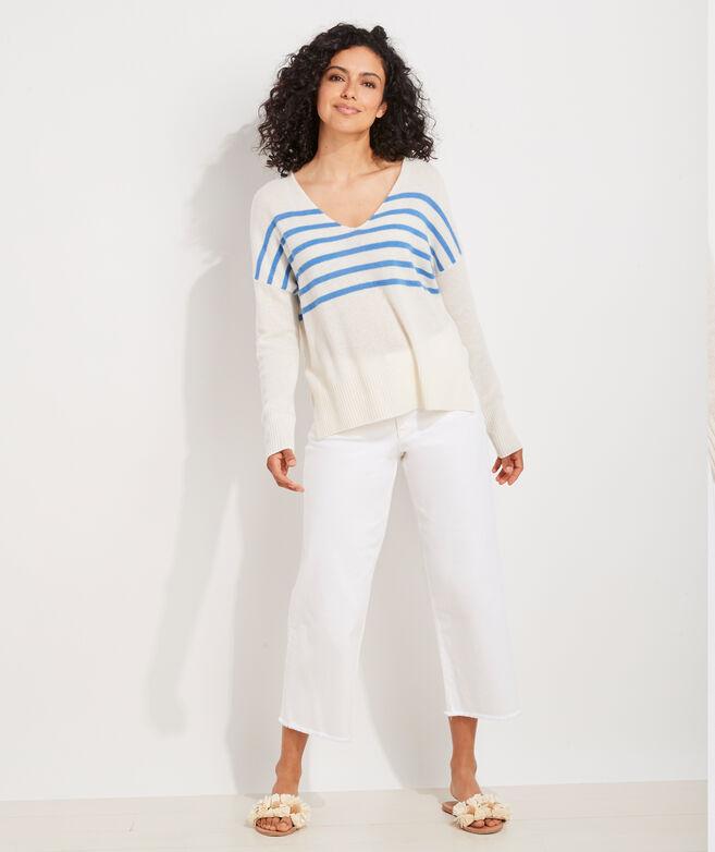 Seaspun Cashmere Striped V-Neck Sweater
