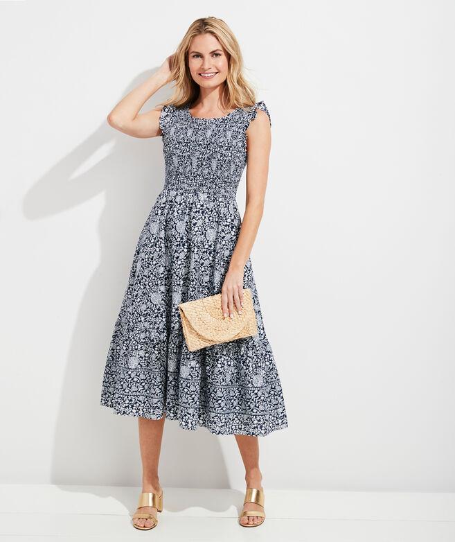Vine Floral Smocked Midi Dress