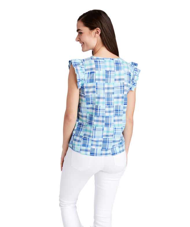 Madras Patchwork Flutter Sleeve Top
