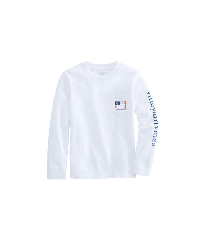 Boys Long-Sleeve Lacrosse Flag Pocket T-Shirt