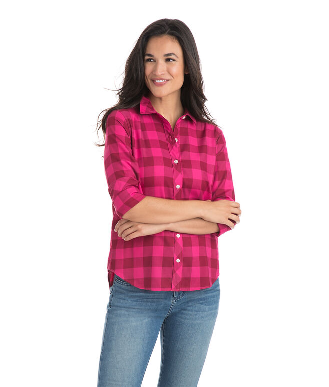 Relaxed Carmel Buffalo Check Performance Flannel Button Down