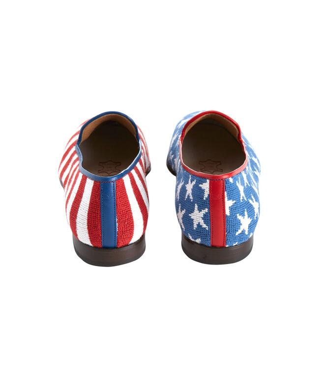 Men's Stubbs & Wootton Needlepoint Stars & Stripes Slippers