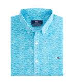 Short-Sleeve Waves Geo Slim Tucker Shirt