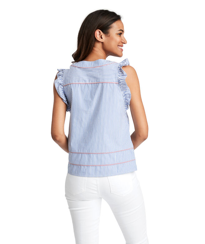 Vineyard Stripe Flutter Sleeve Top