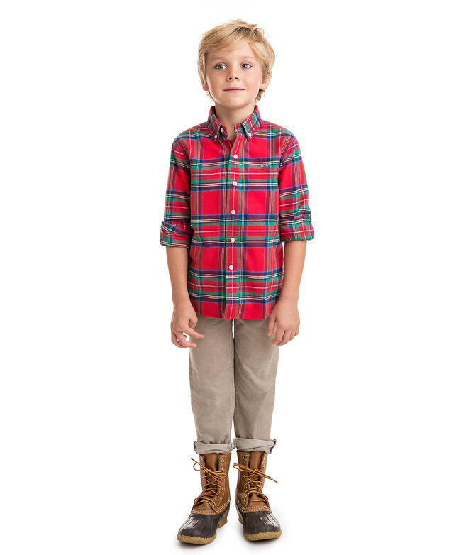 Boys Jolly Plaid Flannel Whale Shirt