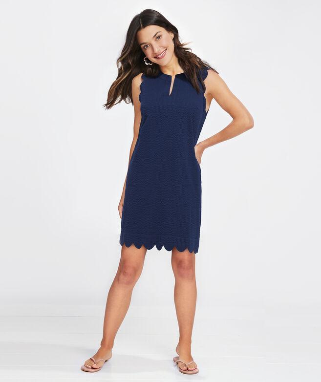 Seersucker Scallop Cisco Swing Dress