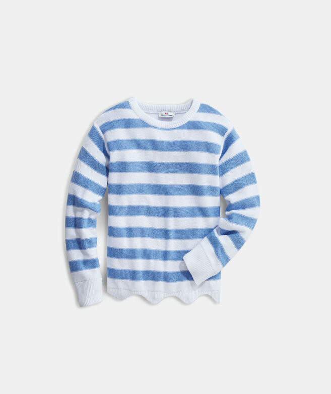 Girls' Striped Scallop Sweater