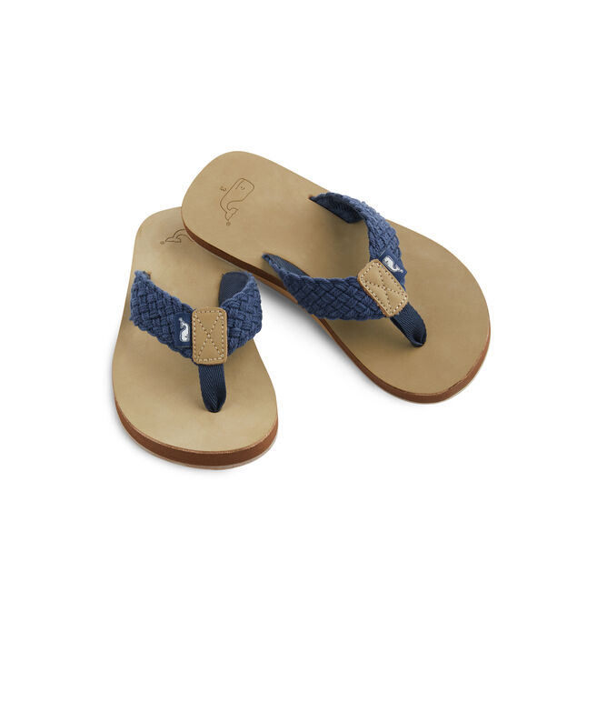 Boys Washed Webbing Leather Flip Flops
