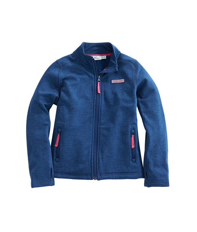 Girls Full Zip Grid Fleece