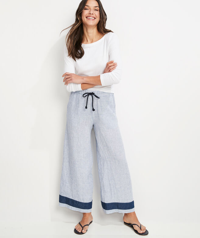 Wide Leg Linen Pull-On Pants
