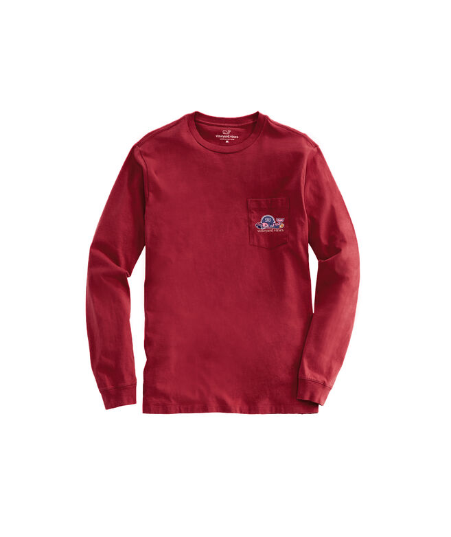 Football Whale Tailgate Long-Sleeve Pocket Tee
