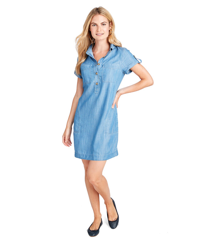 Chambray Utility Shirt Dress