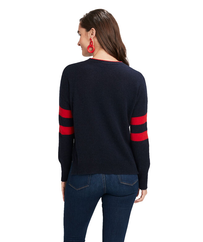 Lofty Varsity Stripe Cashmere Crewneck Sweater