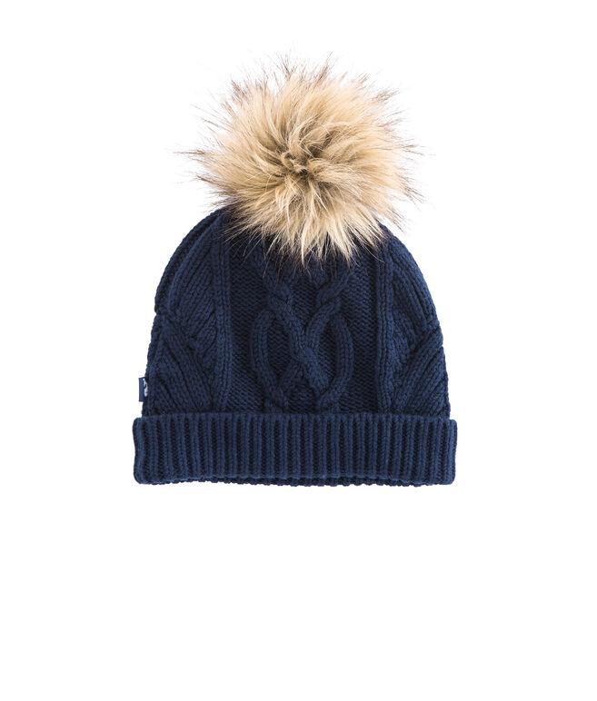Fur Pom Pom Knit Hat