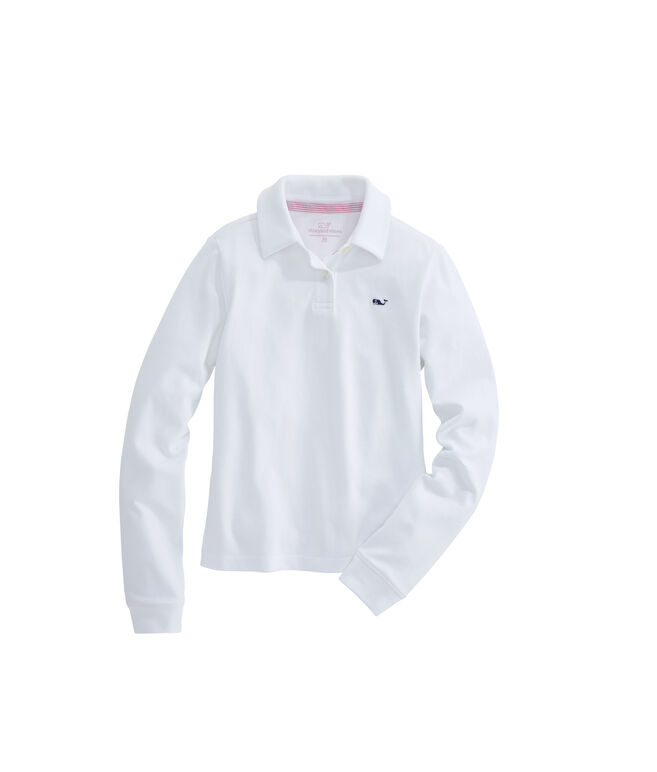 Girls Long-Sleeve Solid Pique Club Polo