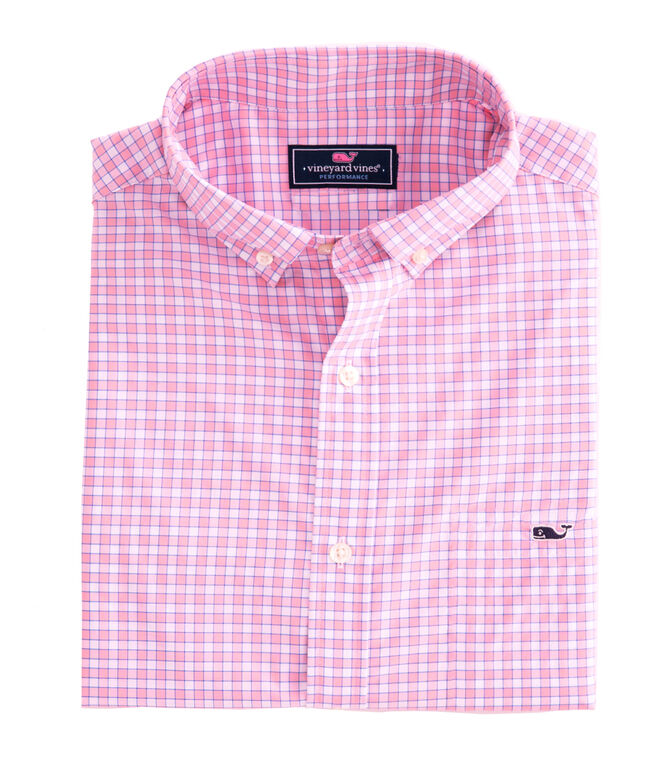 OUTLET Mens' Classic Fit Bermuda Check Performance Whale Shirt