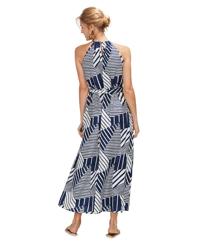 Geo Tile Watercolor Maxi Dress