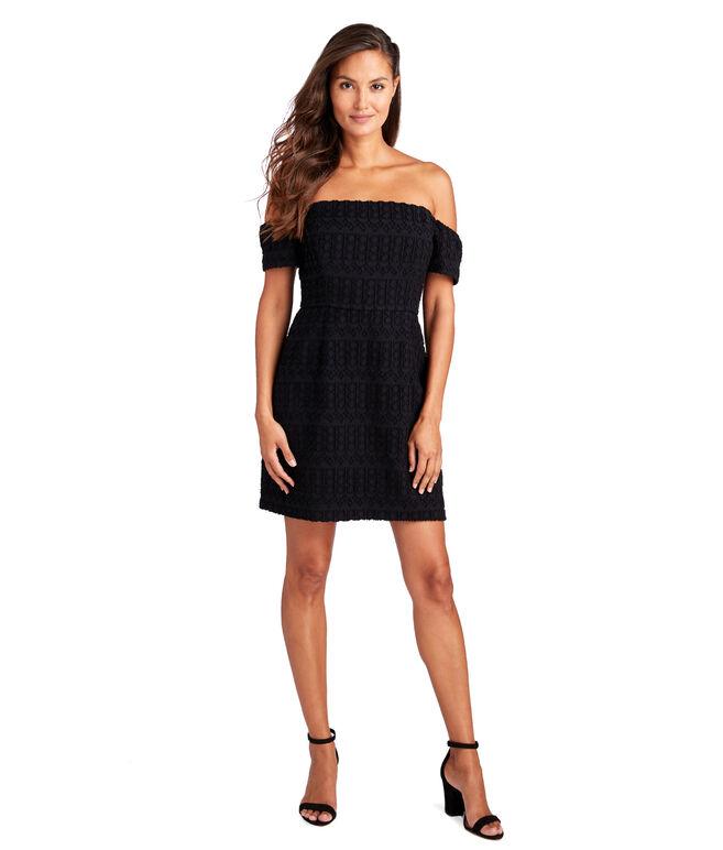 Off The Shoulder Jacquard Cocktail Dress