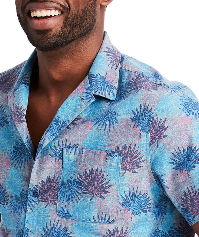 Slim Short-Sleeve Flagstaff Chambray Cabana Collar Shirt