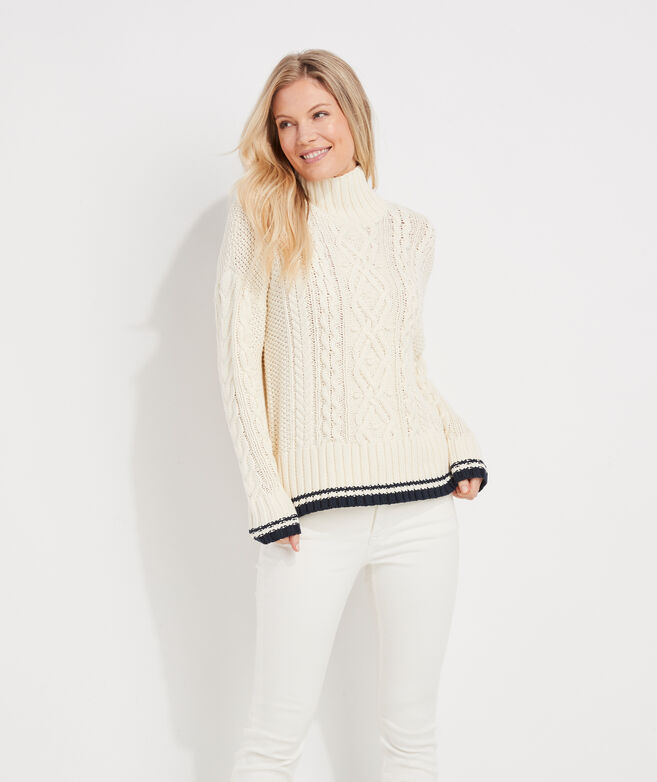 Tipped Island Fisherman Mockneck Sweater