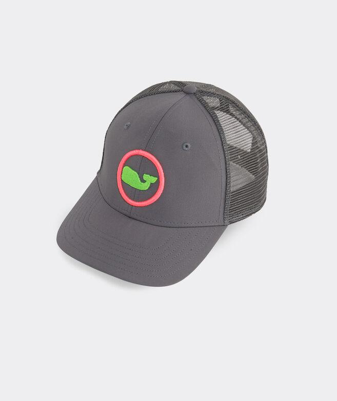 Neon Two Tone Whale Dot Performance Trucker Hat