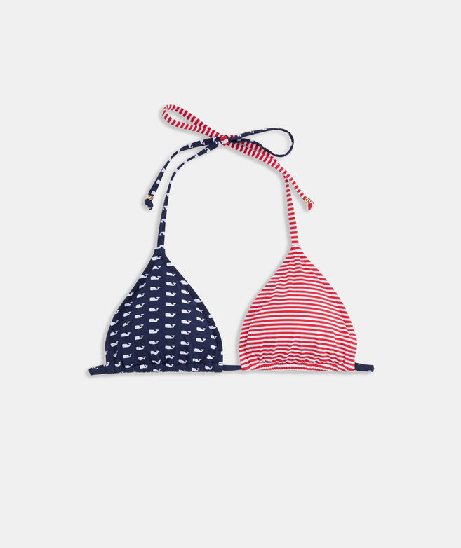 Whales & Stripes String Bikini Top