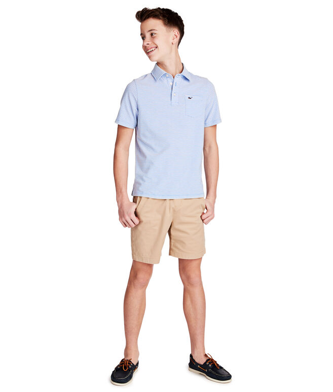 Boys Color To White Shep Stripe Edgartown Polo