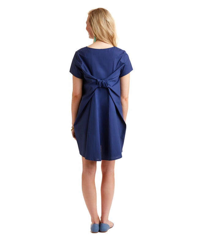 Short-Sleeve Bow Back Dress