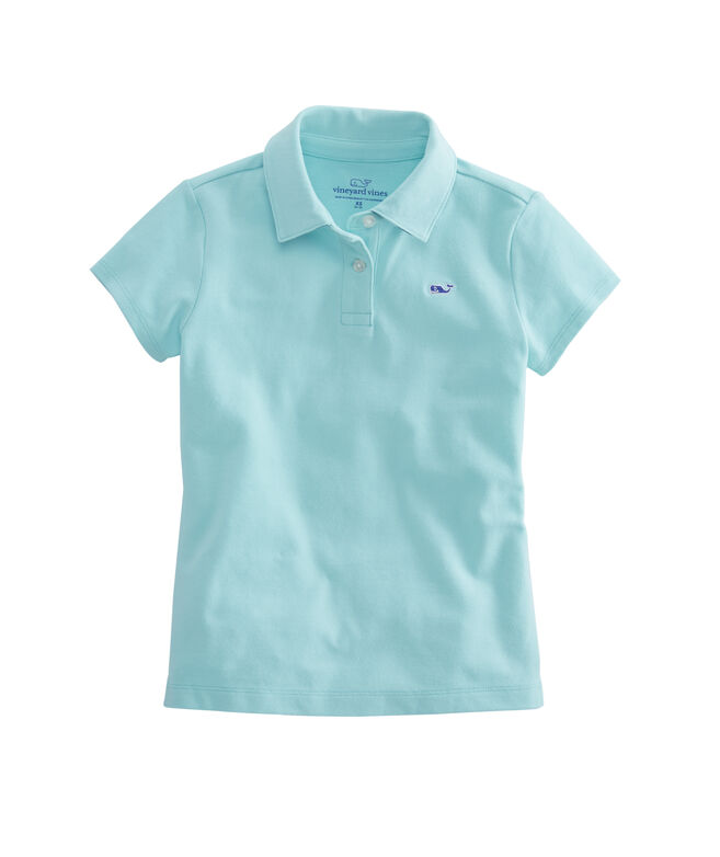 Girls Undercollar Stripe Pique Club Polo