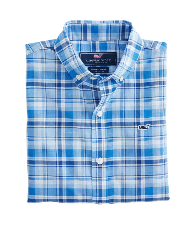 Boys Beach Tartan Plaid Whale Shirt