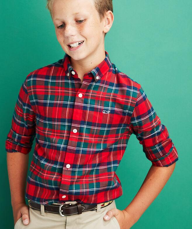 Boys Merry Plaid Whale Button-Down Flannel Shirt