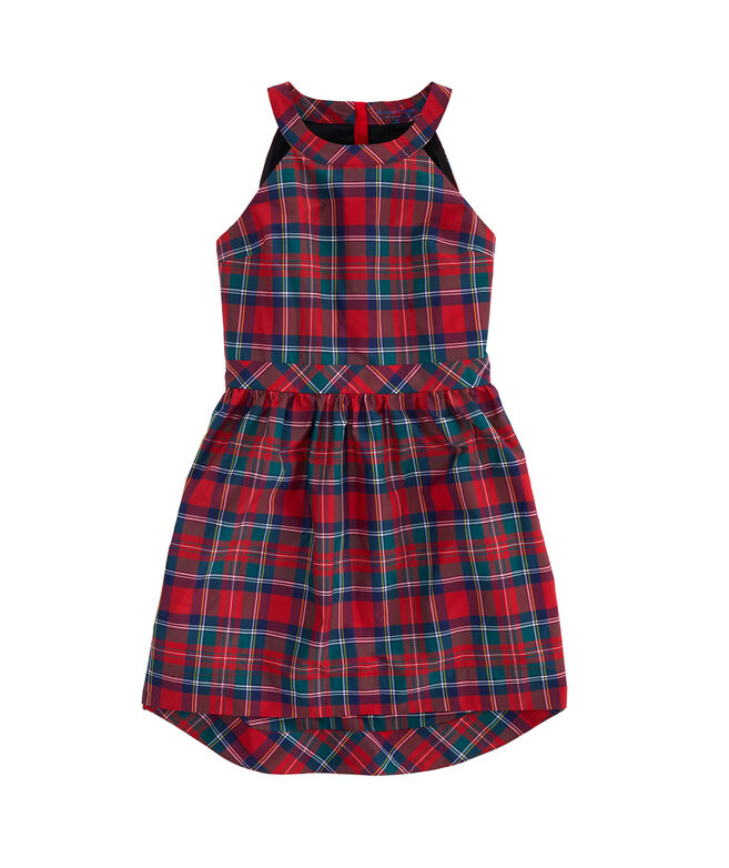 Girls Merry Plaid Taffeta Party Dress