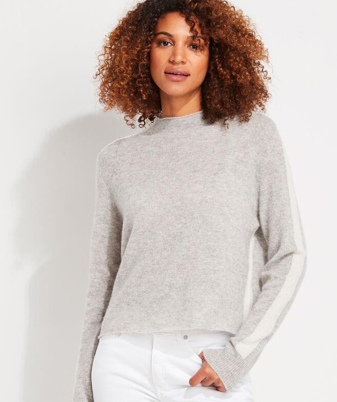 Lofty Tonal Stripe Cashmere Mockneck Sweater