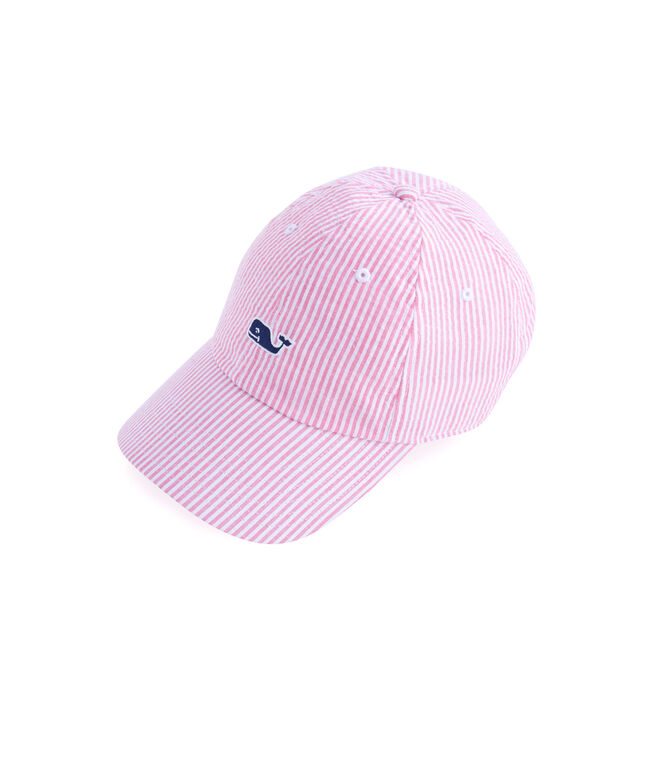 Girls Washed Seersucker Baseball Hat