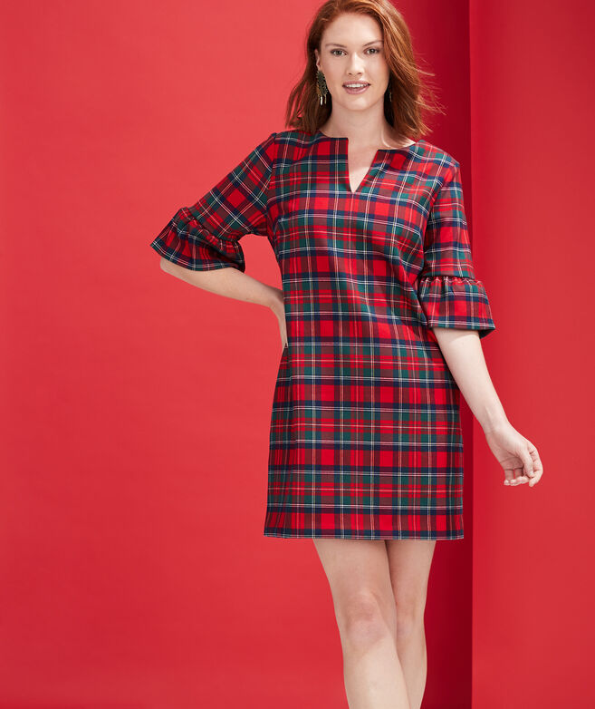Merry Plaid Greenwich Flutter Sleeve Shift Dress