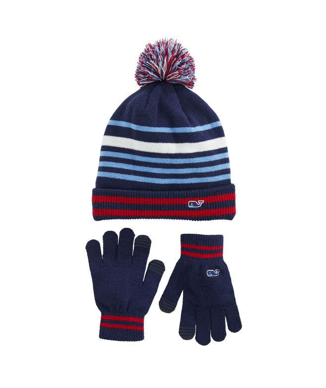 Boys Retro Stripe Knit Beanie and Tech Glove Set